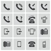 Vector black telephone icons set — Stock Vector