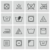 Vector black washing icons set — Stock Vector