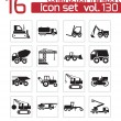 Vector black construction transport icons set — Stock Vector