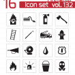 Vector black firefighter icons set — Stock Vector #33595401