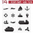 Stock Vector: Vector black ship and boat icons set