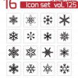 Vector black snowflake icons set — Stock Vector