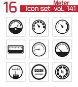 Vector black meter icons set — Vector de stock