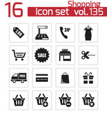 Vector black shopping icons set — Stock Vector