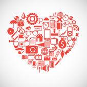 Silhouette eines Herzens besteht aus icons — Stockvektor