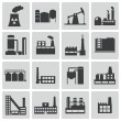 Stock Vector: Vector black factory icons set