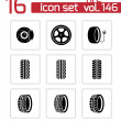 Vector black tire icons set — Stock Vector
