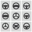 Stock Vector: Vector black Steering wheels icons set