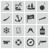 Vector black pirates icons set — Stockvector