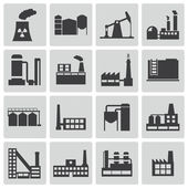 Vector black factory icons set — Stock Vector