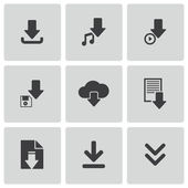 Vector black download icons set — Stock Vector