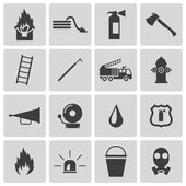 Vector black firefighter icons set — Stock Vector