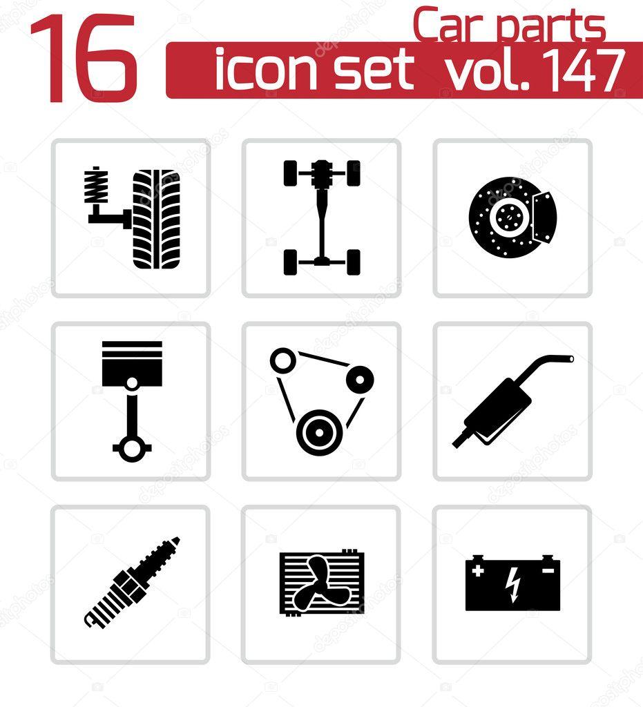 Car Icon Set Vector Black Car Parts Icons