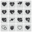 Vector black hearts icons set — Stock Vector