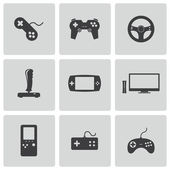 Vector black video game icons set — 图库矢量图片