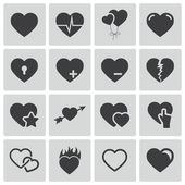Vektor svart hjärtan ikoner set — Stockvektor