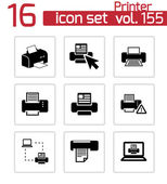 Vector balck printer icons set — Stock Vector