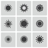 Vector black sun icons set — Stock Vector