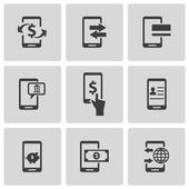 Vector black mobile banking icons set — Stock Vector