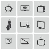 Vector black TV icons set — 图库矢量图片