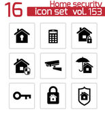Vector black home security icons set — Stock Vector