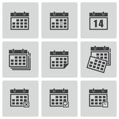Vector black calendar icons set — Stock Vector