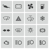 Vector balck car dashboard icons set — Stock Vector