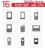 Vector black mobile phone icons set — Stock Vector