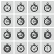 Vector black stopwatch icons set — Stock Vector