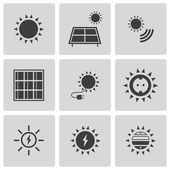Vector black solar energy icons set — Stock Vector