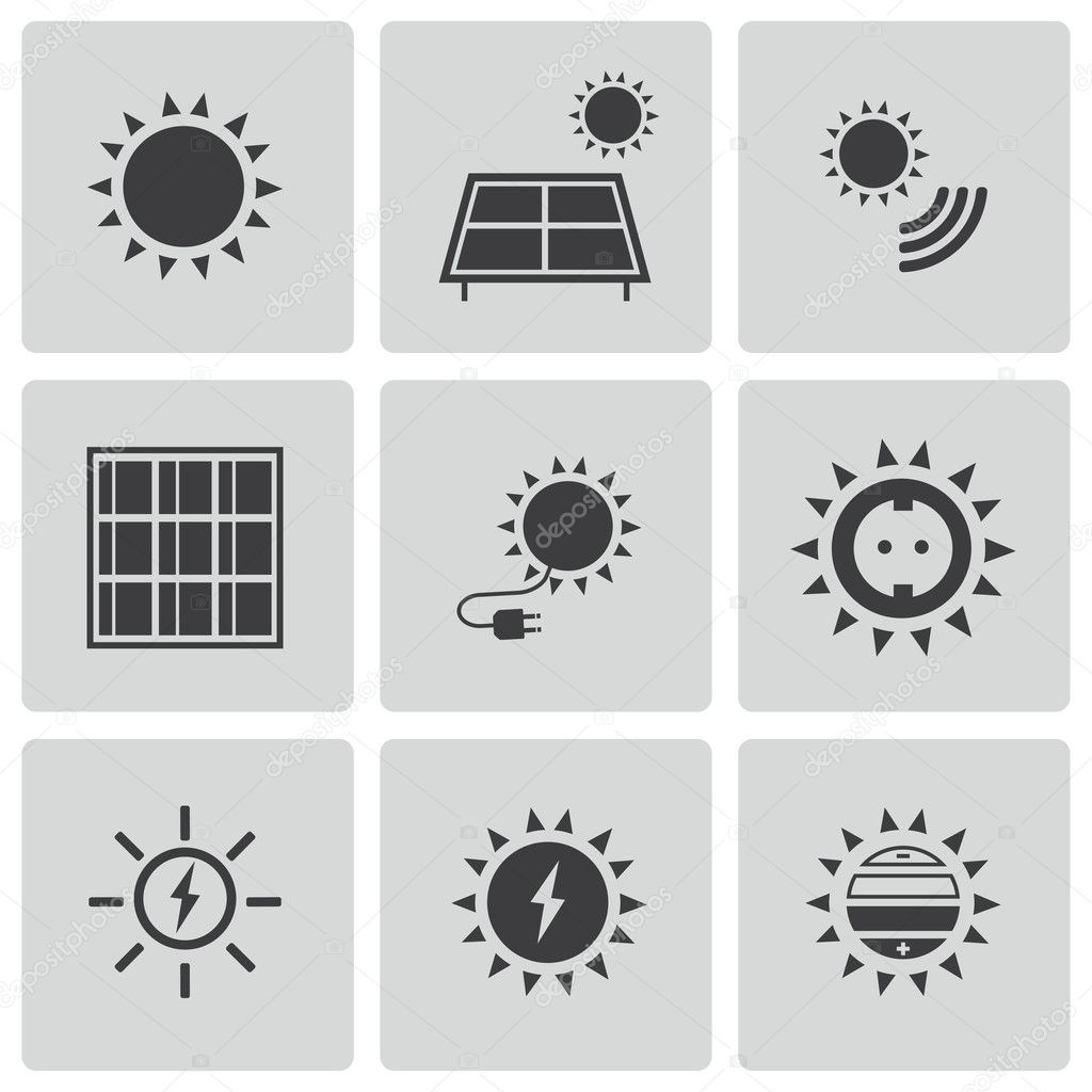 vector black solar energy icons set stock vector skarin1 34824171. Black Bedroom Furniture Sets. Home Design Ideas