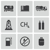 Vector black natural gas icons set — Stock Vector