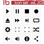 Vector black media player icons set — Stock Vector