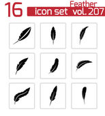 Vector black feather icons set — Stock Vector