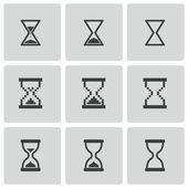 Vector black hourglass icons set — Stock Vector