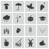 Vector black autumn icons set — Stock Vector