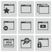 Vector black browser icons — Stock Vector