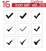 Vector black confirm icons set — Vector de stock