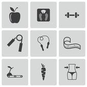 Vector black diet icons set — Stock Vector