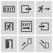 Vector black exit icons set — Vector de stock