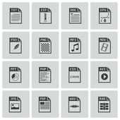 Vector black file type icons set — Stock Vector