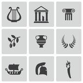 Vector black greece icons set — Stock Vector