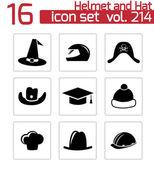 Vector conjunto de iconos casco y sombrero negro — Vector de stock