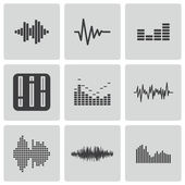 Vector black music soundwave icons set — Stock Vector