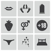 Vector black sex icons set — Stock Vector