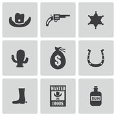 Vector black wild west icons set — Stock Vector