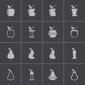 Vector black apple and pear icons set — Stock Vector