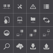Vector black FTP icon set — Stock Vector