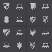 Vector black icon shield icons set — Stock Vector