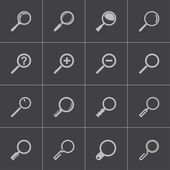 Vector black magnifying glass icons set — Stock Vector